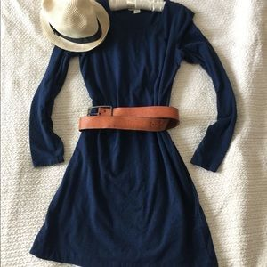 H&M Dark Blue Long Sleeve Dress